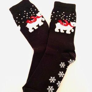 Lovely cute snow pattern black Women socks No-slip